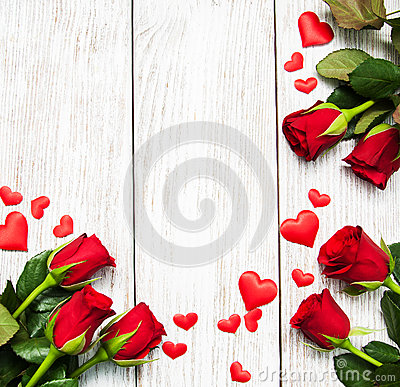 Free Roses And Red Hearts Stock Images - 84326774