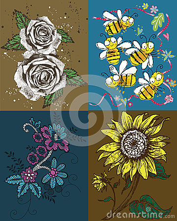 Roses, Bees and Sunflower Artwork