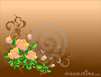 Roses on brown