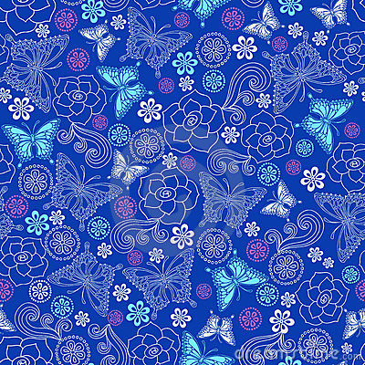 Roses and Butterflies Seamless Repeat Pattern