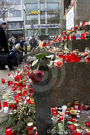 Roses and candles on the Wenceslas monument Editorial Photo