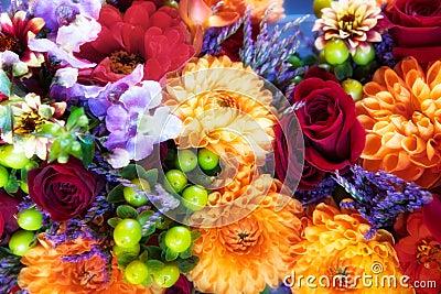 Roses, chrysanthemums & orchids bouquet
