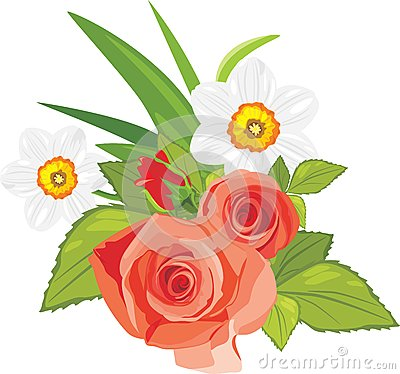 Roses and daffodils. Festive bouquet