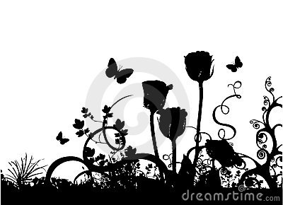 Roses et vecteur de guindineau