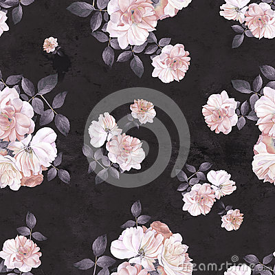 Free Roses Flower Watercolor Dark Seamless Pattern Royalty Free Stock Images - 89209229