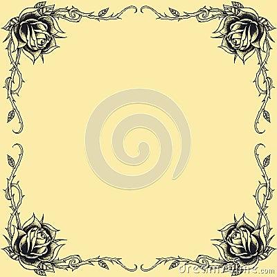 Free Roses Frame Oldskool Tattoo Style Design Set 01 Royalty Free Stock Photos - 36326828