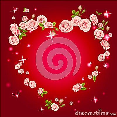 Roses heart frame