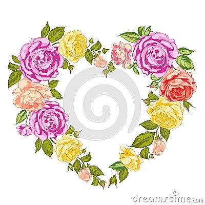 Roses heart frame.