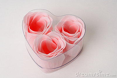 Roses in a heart shape box present