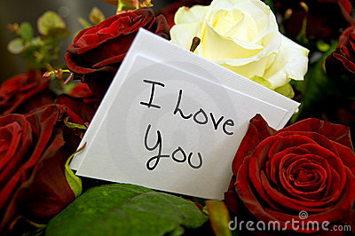 Roses with i love you card