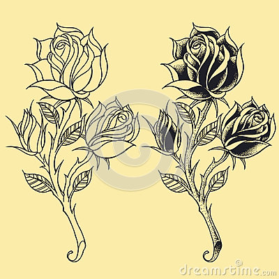 Free Roses Oldskool Tattoo Style Elements 02 Royalty Free Stock Images - 36326779