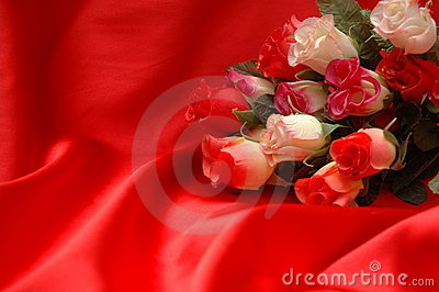 Roses on the red satin