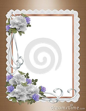 Roses, satin and lace border wedding invitation