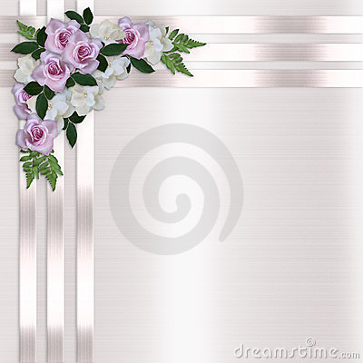 Roses and Satin Ribbons Floral Background