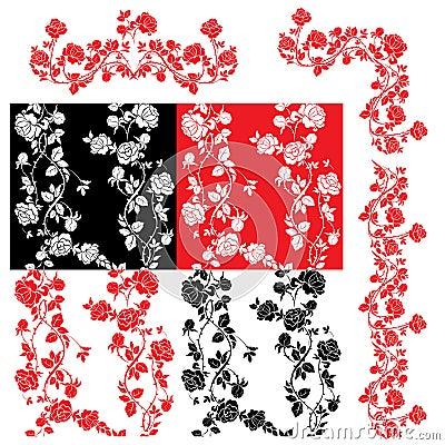 Roses - set of seamless patterns