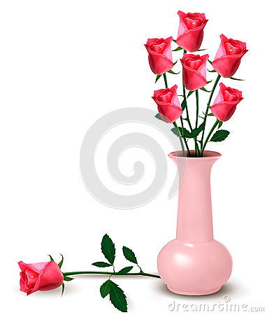 Roses in a vase. Vector.