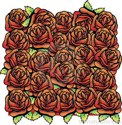 Roses vector illustration background pattern