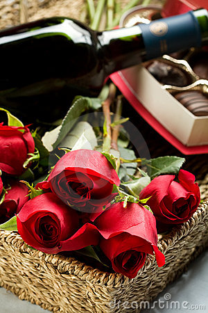 Free Roses, Wine And Chocolates Stock Photography - 12467112