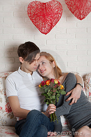 Roses and young couple