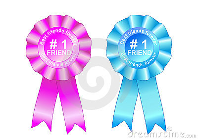 Rosette award best friends forever blue and pink