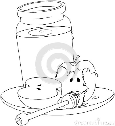 a vector coloring page of a honey jar and sliced apple covered with honey and wooden stick on a plate for the jewish new