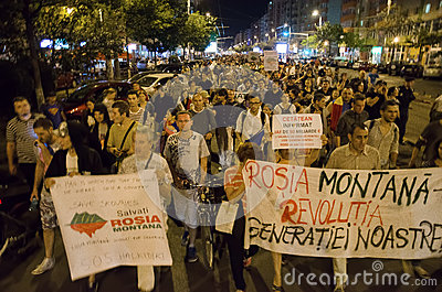 Rosia Montana Protest in Bucharest,Romania - 08 September Editorial Stock Photo
