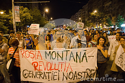 Rosia Montana Protest in Bucharest,Romania - 08 September(2) Editorial Stock Image