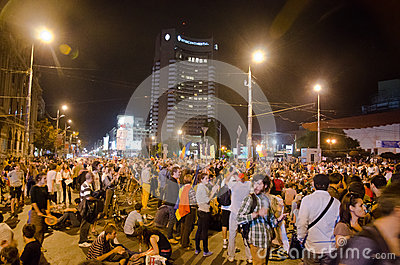 Rosia Montana Protest in Bucharest,Romania - 08 September(3) Editorial Photo
