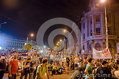 Rosia Montana Protest in Bucharest,Romania - 08 September(9) Editorial Stock Photo