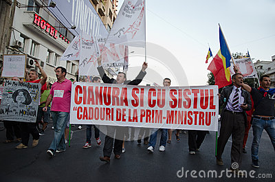 Rosia Montana Protest in Bucharest,Romania - 07 September Editorial Photo