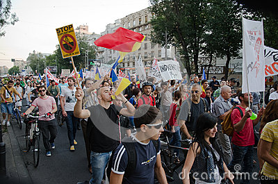 Rosia Montana Protest in Bucharest,Romania - 07 September Editorial Photography