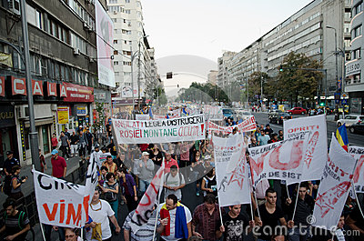 Rosia Montana Protest in Bucharest,Romania - 07 September Editorial Stock Image