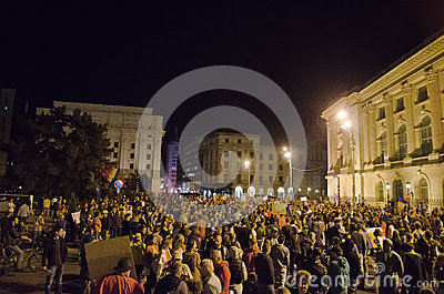 Rosia Montana Protest in Bucharest,Romania(2) Editorial Stock Photo