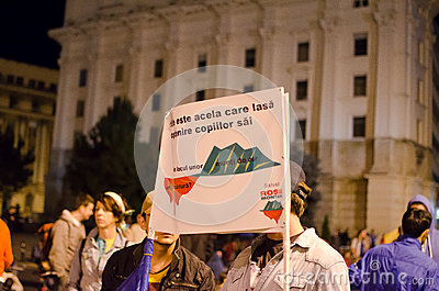 Rosia Montana Protest in Bucharest,Romania(5) Editorial Stock Photo