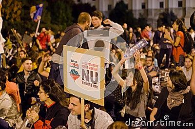 Rosia Montana Protest in Bucharest,Romania(14) Editorial Image