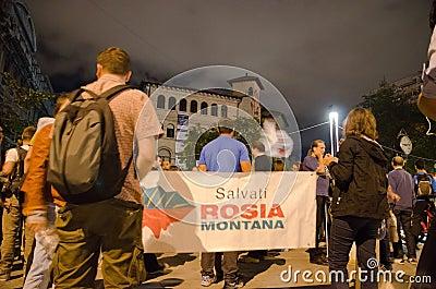 Rosia Montana Protest in Bucharest,Romania(17) Editorial Photo