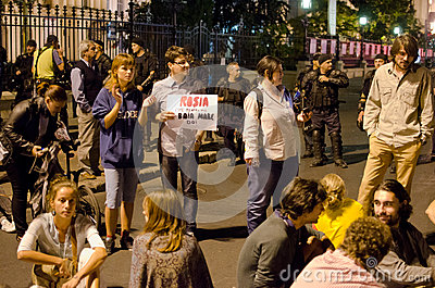 Rosia Montana Protest in Bucharest,Romania(21) Editorial Stock Photo