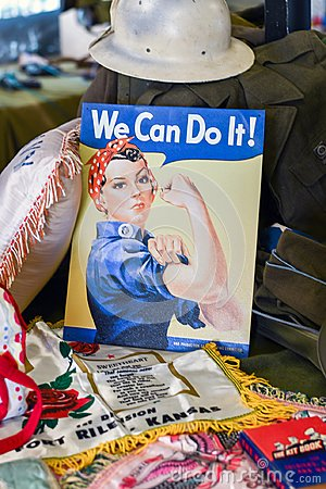 Free Rosie The Riviter Poster From Ww2 Royalty Free Stock Photos - 120936148