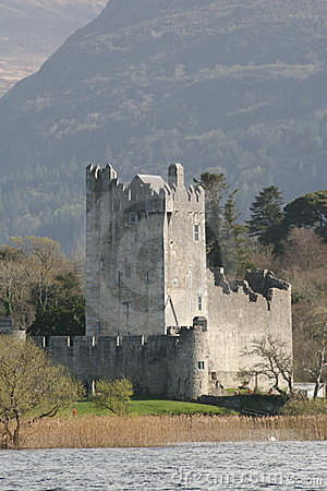 Ross castle in kerry mountains, killarney, ireland