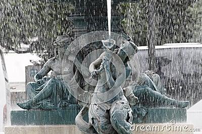 Rossio Square Fountain, Lisbon, Portugal