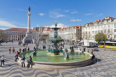 Rossio Square the heart of Lisbon Editorial Image