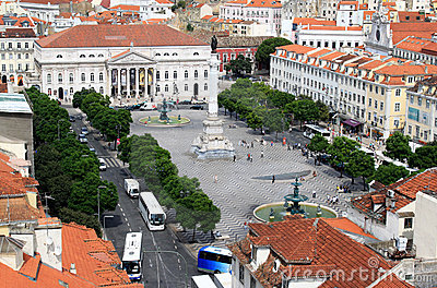 Rossio Square from the Santa Justa Lift, Lisbon Editorial Image