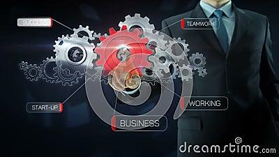 Rosso di concetto del lavoro di gruppo dell'ingranaggio di successo dell'uomo di affari stock footage