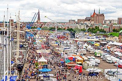 Rostock, Germany - August 2016: Hanse Sail markt Editorial Photo