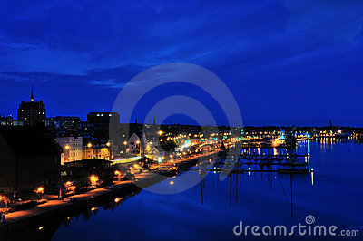 Rostock harbor at night