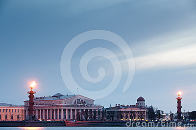 Rostral column in Saint-Petersburg. Russia.