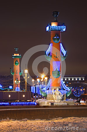 Rostral columns in Petersburg, Russia. Editorial Photography