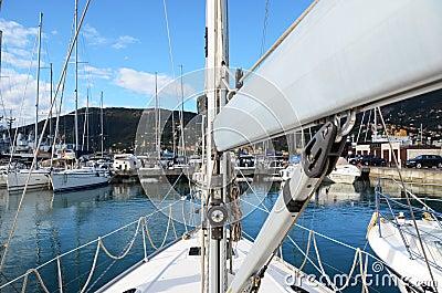 Rostrum of a modern yacht