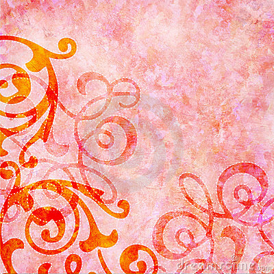 Rosy pink background with colorful swirls