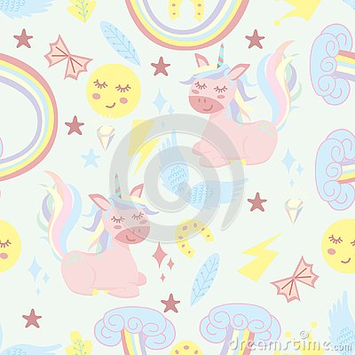 Seamless pattern with unicorn and rainbow - vector illustration, eps Vector Illustration